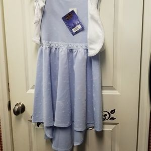 Girls Disney dress with faux fur vest